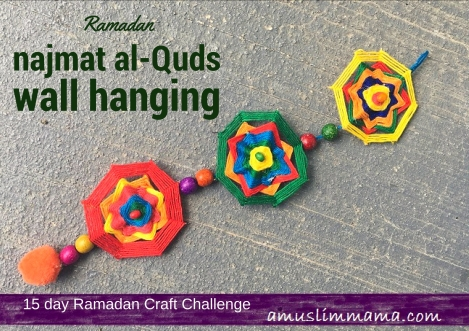 najmat al-Quds Ramadan Craft wall art using floss (1)