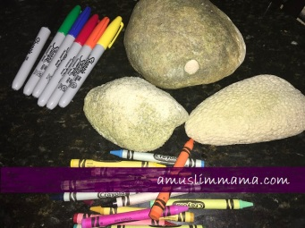 Rock crayon painting for Ramadan craft (1)