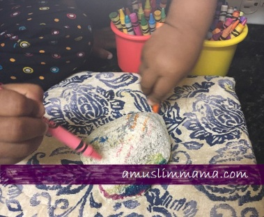 Rock crayon painting for Ramadan craft (2)